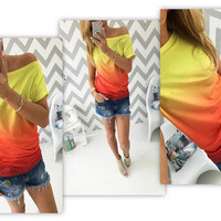 Gradient Pattern One Shoulder Short Sleeve T-Shirt