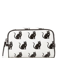 FOREVER 21 Cat Print Cosmetics Bag Black/Cream One