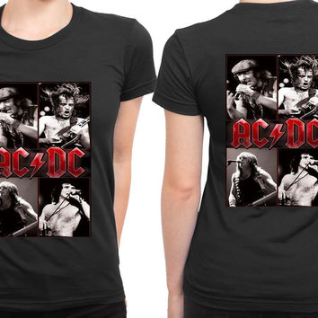 ACDC Cover Title 2 Sided Womens T Shirt