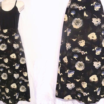 "1980s Floral A LIne Skirt by Tracy Evans Size 9 Waist 28"" Made in the USA"