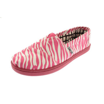 Toms Girls Classics Zebra Print Slip On Loafers - 6 / Berry Zebra