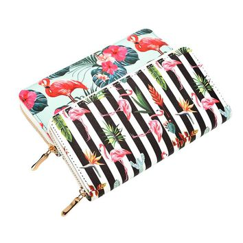 Fashion Flamingo Floral Print Women Long Wallet Large Capacity Clutch Purse Phone Bag PU Leather Ladies Card Holder Wallets