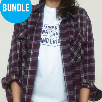 Bundle Warm Toned Grunge Mystery Flannel and Tee, Hipster, Oversized, Tumblr shirts, Flannels,EDProductions