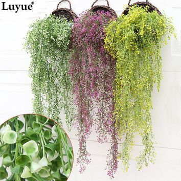 Luyue 80-120cm Artificial Garland Green Vine Hanging Leaves Wedding Home Bar Decor Two Length Props Simulation Plant