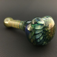 Lake Green Glass Silver and Gold Fumed Pattern and Wrap and Rake Tobacco Spoon Pipe