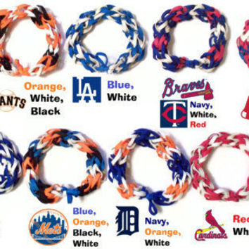 MLB Colored Rubber Band Bracelets - Customized Baseball Fan Accessories