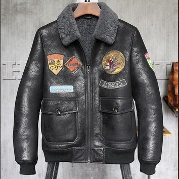 High quality Men Genuine Leather Winter Jacket Men's sheepskin Shearling pilot leather jacket winter leather Coat men