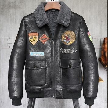 AEMBOTIONEN Men's Genuine Leather Motorcycle Jacket/Coat