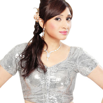 Silver Shimmer Sequin Saree Blouse SNT-107-SL