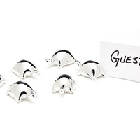 Silver-Plated Turtle Place Cards, Set of 6, Placecard Holders