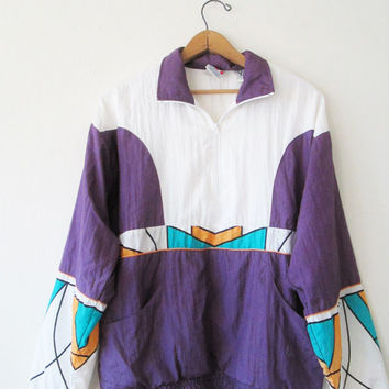 Vintage 1980s Olympic Graphic Geo Pullover Windbreaker Jacket Sz M