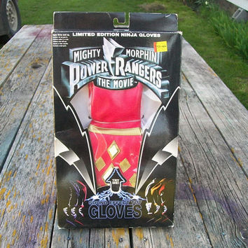 Vintage Red Ranger Mighty Morphin Power Rangers The Movie Sound Effect Ninja Gloves 1995 in original packaging