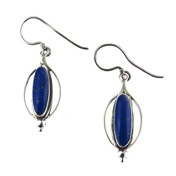 Lapis Lazuli Sterling Silver Artisan Made Earrings, Vintage, 1930s to 1980s