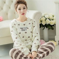 Female Winter Pajamas Thick Coral Velvet Lady Warm Flannel Nightdress Long-sleeved Tracksuit Korean Version Woman Cartoon Pyjama
