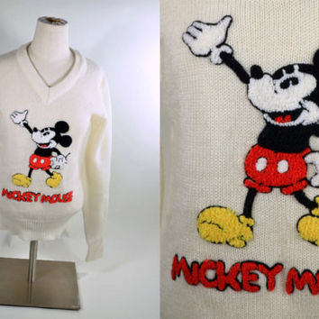 Vintage Cream Colored MICKEY MOUSE Applique V Neckline Sweater/ Disney Character Fashions Pullover Sweater Jumper S
