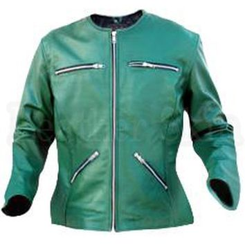 Green Collarless Leather Jacket