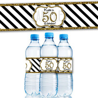 Gold Glitter Stripe Adult Birthday Party Favor Water Bottle Labels - Adult Birthday Decorations - Table Decor  - 50th 60th ANY AGE MILESTONE