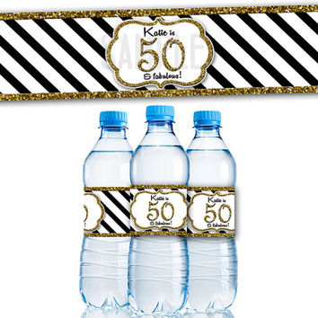 Gold Glitter Stripe Adult Birthday Party Favor Water Bottle Labels   Adult  Birthday De