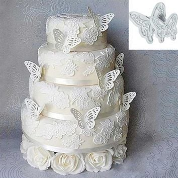 New Plastic 2pcs Butterfly Shape Cake Fondant Decorating Sugar craft Cookie Cutters Mold Free shipping