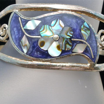 Vintage Inlay Abalone Shell Bracelet Cuff MOP Flower Mother of Pearl Silver