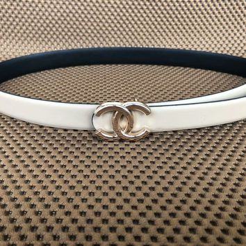 Chanel trendy men and women with the same paragraph fashion casual belt F-KWKWM White