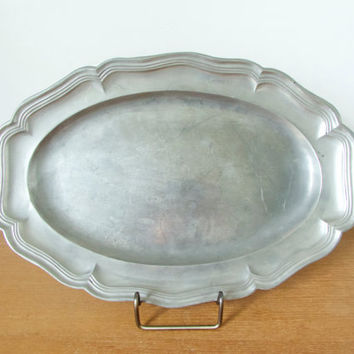 Antique French oval pewter tray, possibly Arthur Chaumette