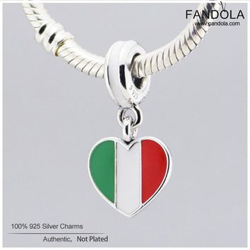 Italy Heart Flag Beads 925 Sterling-Silver-Jewelry Mixed Enamel Charms Beads for Jewelry Making Fits Pandulaso Diy Bracelets