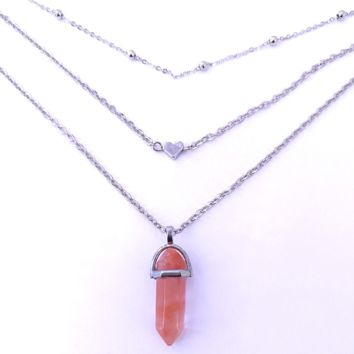 Hexagonal diamond-shaped gemstone natural stone peach heart copper beads chain multi-layer necklace