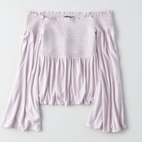 AEO Soft & Sexy Off-the-Shoulder Bell-Sleeve Top, Violet Crush