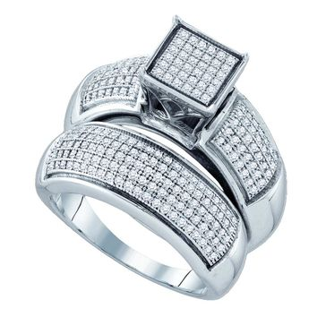Sterling Silver Womens Diamond Cluster Bridal Wedding Engagement Ring Band Set 5/8 Cttw