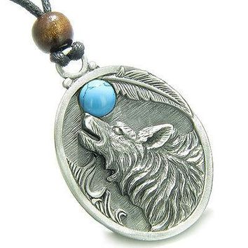 Amulet Howling Wolf and Turquoise Moon Gemstone Oval Shape Fine Pewter Lucky Cha