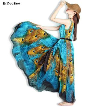Summer Bohemian beach Long Dress plus size BOW off the shoulder Women Maxi Dress Peacock Print Elegant Causal Dresses Vestidos