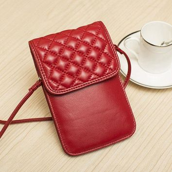 Women Genuine Leather Lingge Phone Bag Mini Crossbody Bag