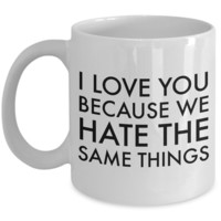 Boyfriend Anniversary Gifts for Your Girlfriend Wife Anniversary Gift Husband Anniversary Gifts I Love You Because We Hate the Same Things Coffee Mug