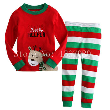 lovely spring new year cotton long sleeves baby kids children suits boys pajamas  christmas girls clothing sets clothes