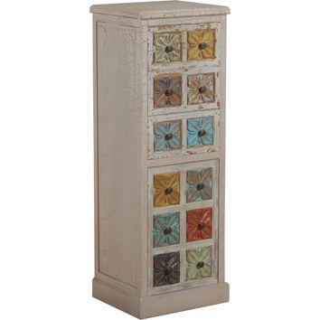 Molly Distressed White Tall Cabinet Multi Color Drawers