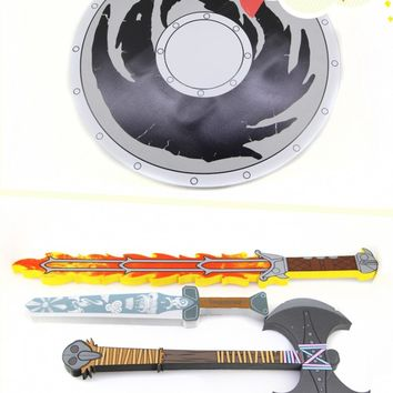 Newest How To Train Your Dragon 2 Action cosplay weapons fire sword/axe/Buckler toys for Children Brinquedos Kids minecraft Toys