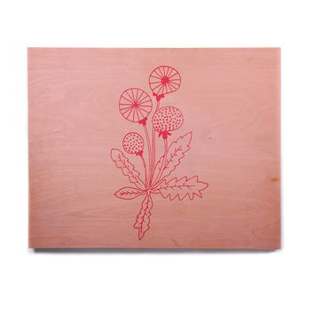 "bruxamagica ""Dandelion Pink"" Pink Floral Nature Illustration Mixed Media Birchwood Wall Art"