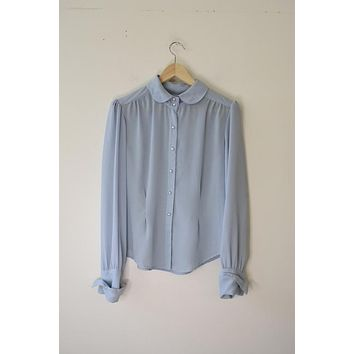 Vintage Sheer Light Blue Button Up