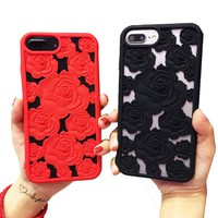 Sexy 3D Hollow Red Black Rose Soft Silicone Cover Case Fits iPhone X 8 7 6 Plus