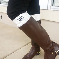 Monogrammed Boot Cuffs  Font Shown INTERLOCKING