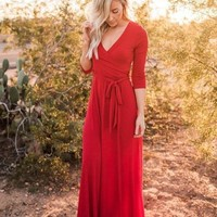 The Jonna Wrap Maxi Dress - Red