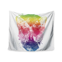 "Frederic Levy-Hadida ""Butterfly Skull"" Rainbow Wall Tapestry"