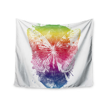 """Frederic Levy-Hadida """"Butterfly Skull"""" Rainbow Wall Tapestry"""