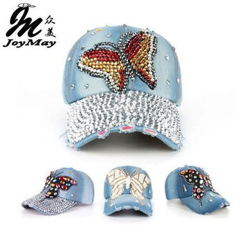 Joymay 2015 New Fashion Design Hat Cap Bling Butterfly  Rhinestone Jean Denim Baseball Cap For Woman B217 224