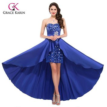 Hot High Low Prom Dresses 2017 Elegant Women Royal Blue Pink Sequin Paillette Evening Party Short Front Long Back Dress 6012