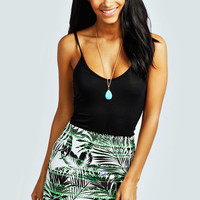 Amelia Neon Palm Tree Mini Skirt
