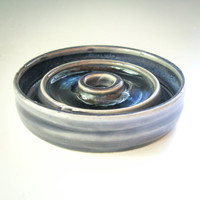 Blue Ceramic Soap Dish - Draining Soap Dish - Concentric Circles