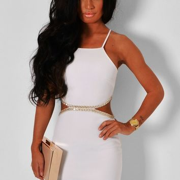 Ethereal White Embellished Cut Out Midi Dress | Pink Boutique