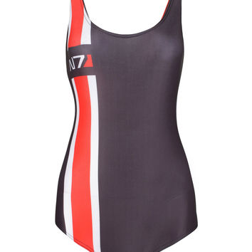 Black Contrast Stripe And N7 Print Low Back Swimsuit